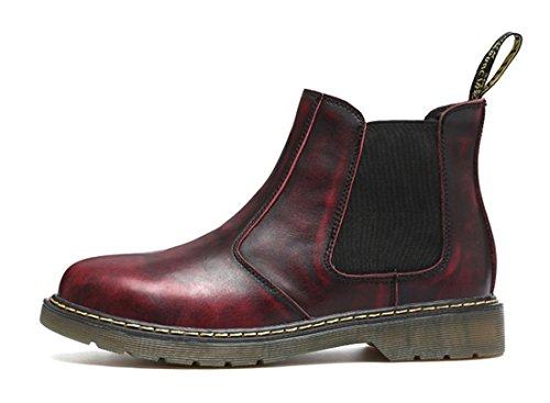 Honeystore Unisex-Erwachsene Bootsschuhe Derby Stiefeletten Kurzschaft Stiefel Winter Boots für Herren Damen Weinrot 38 CN (Gucci Herren Schuhe Stiefel)