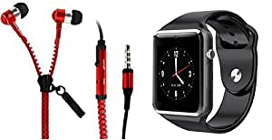 MIRZA Zipper Earphones & A1 Smart Watch for PANASONIC P50 IDOL(Zipper Earphones||With MIC||Zipper Earphones & Bluetooth A1 Smart Watch,Wrist Watch Phone with Camera & SIM Card Support Hot Fashion New Arrival Best Selling Premium Quality Lowest Price with Apps like Facebook,Whatsapp, Twitter, Sports, Health, Pedometer, Sedentary Remind & Sleep Monitoring,Compatible with Android iOS Mobile Tablet-Assorted Color)