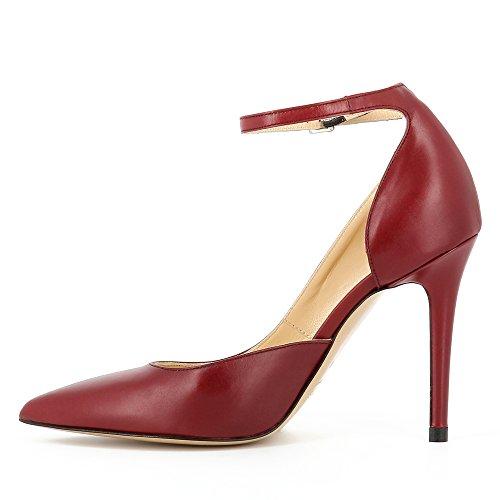 ALINA escarpins femme cuir lisse rouge foncé