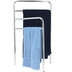 Porte-serviettes sur pied 4 barres CHROME - L.85 x H.50 cm