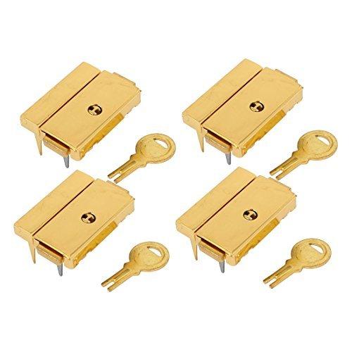 DealMux Box Fall 43mmx29mm Rechteck-Latch Haspe Lock-Gold-Ton 4pcs w Keys - Gold-ton-hardware Lock