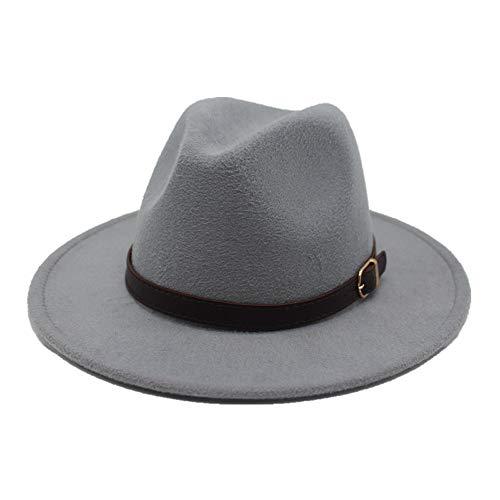 Mode Fedora Hut Wollgürtel Männer Frauen Bandbreite Seite Filzhut Retro Hut Elegante Damen Jazz Hut Hut (Farbe : Grau, Größe : 56-58CM) -