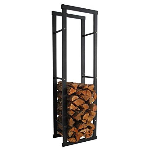 HELO 'E4' Metall Feuerholzregal 40x150x25 cm schwarz pulverbeschichtet für innen und außen zur...