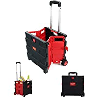 Rubik 25kg Folding Shopping Trolley Cart With Wheels, Collapsible Grocery Storage Boot Cart Box, Utility Transit Hand Cart for Daily Use, Red/Black