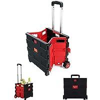 عربة عربة التسوق Rubik القابلة للطي بعجلات قابلة للطي 25 كجم، صندوق عربة تخزين البقالة القابل للطي وعربة التسوق اليدوية للاستخدام اليومي، أحمر/أسود