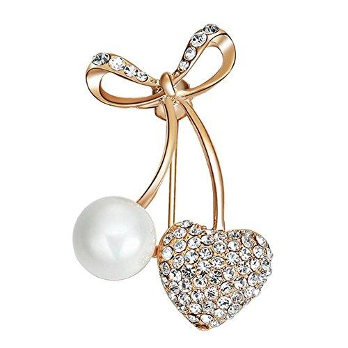 Kanggest Broche para Mujer Creativa Moda Rhinestone Perla Corazón Broche Pin Elegante Broches para Ropa Bufanda Vestidos