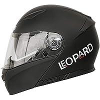 Leopard LEO-888 DVS Flip up Front Helmet Motorcycle Motorbike Helmet with DOUBLE SUN VISOR (Matt Black L)