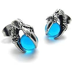 Adisaer Acero Inoxidable Stud Pendiente Hombre Mujeress Semental Pendientes Garra de Dragón Con Azul Pelota