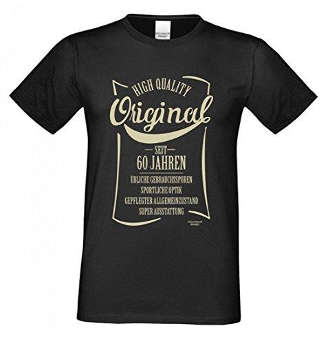 60ster Geburtstag T-shirts (rohuf Design T-Shirt Zum 60. Geburtstag - Original Seit 60 Jahren - Lustiges Sprücheshirt Motivshirt Geschenk Idee - Farbe Schwarz, Größe:XXL)