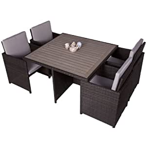 Bracken Style 4 Seater Rattan Cube Set with Polywood Top ...