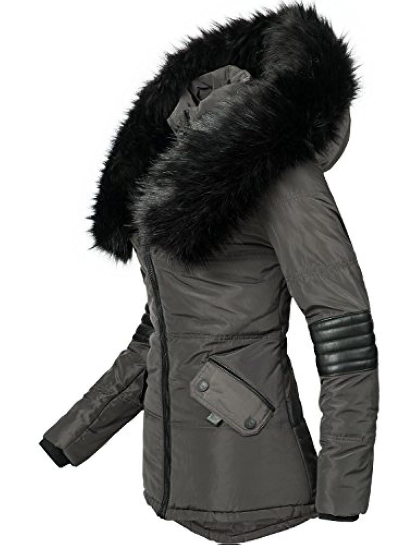 Navahoo Yuki2 Veste dhiver pour Dame avec Une Capuche en Fausse Fourrure Noire 10 Couleurs XS-XL