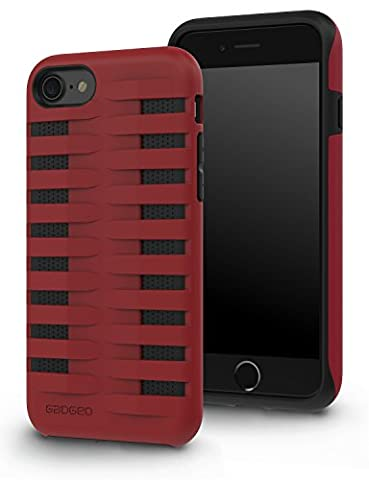 GADGEO iPhone 7 Protective Shockproof Case / Tough Strong Heavy Duty Defender Cover for the Apple iPhone 7 (Red /