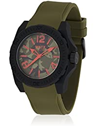Watx RWA1808 - Reloj con correa de caucho para hombre, color verde / gris