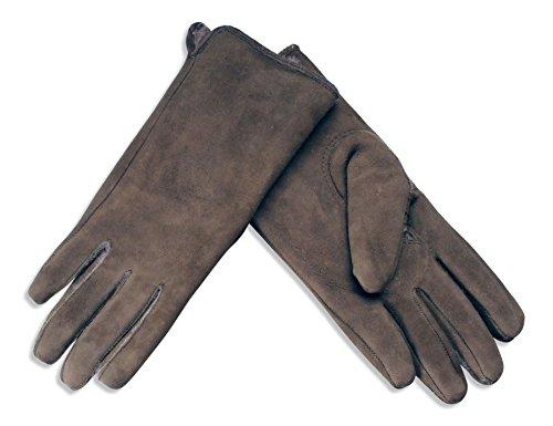 Nordvek - Damen Handschuhe aus Wildleder mit Futter aus echtem Schaffell - # 319-100 (Schaffell Echtem)