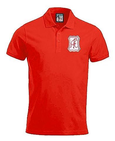 Retro Aberdeen Football Polo Shirt New Sizes S-XXXL Embroidered Logo (Red, XL)