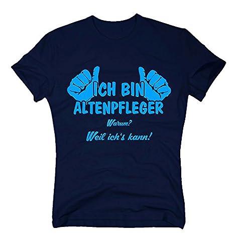 T-Shirt Herren - Ich bin Altenpfleger, weil ich's kann - von SHIRT DEPARTMENT, dunkelblau-cyan, XXL (Krankenschwestern Pflege T-shirt)