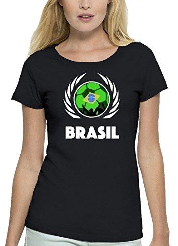 ShirtStreet Brasil Fussball WM Premium Fanfest Damen T-Shirt Bio Baumwolle Stanley Stella Fußball Brasilien Black