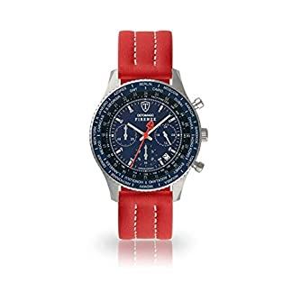 DETOMASO Firenze Reloj Caballero Analógico Cronógrafo Cuarzo Correa de Piel roja Esfera Azul SL1624C-BL-893