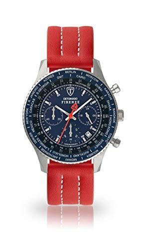 DETOMASO FIRENZE Uomo Orologio Cronografo analogico Cinturino in pelle rosso quarzo quadrante blu SL1624C-BL-893