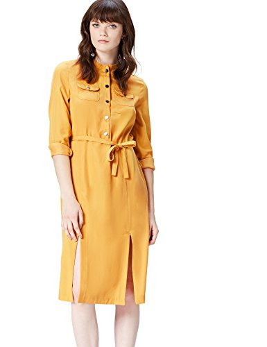 FIND Shirt Style Vestido para Mujer, Amarillo (Yellow), 46 (Talla del fabricante: XX-Large)
