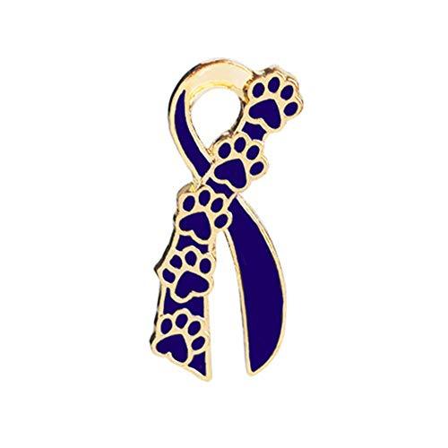 Ribbon Paw Pins und Broschen Bogen niedlichen Hund Katze Klaue Print Emaille Pin Abzeichen Liebe Haustier Memory Cloth Schmuck - Gold Blau
