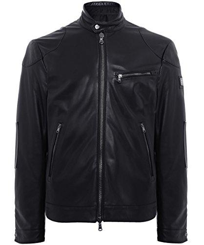 Hackett Hommes Veste en cuir réversible Noir Noir