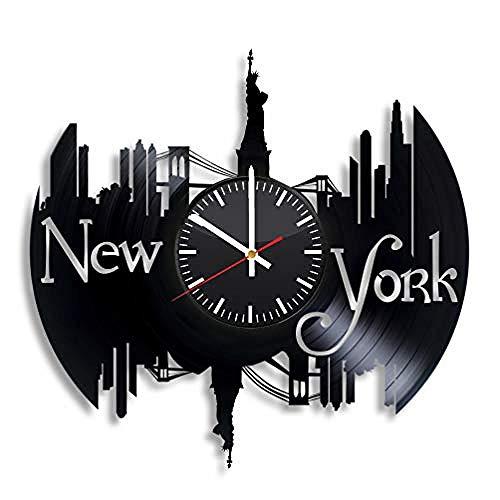 AIYOUBU New York City Vinyl Uhr - NYC Usa Wandkunst Raumdekor handgemachte Dekoration Party Supplies Thema - BesteoriginelleGeschenkideeVintage Modern Style-with_LED (New York City, Party Supplies)