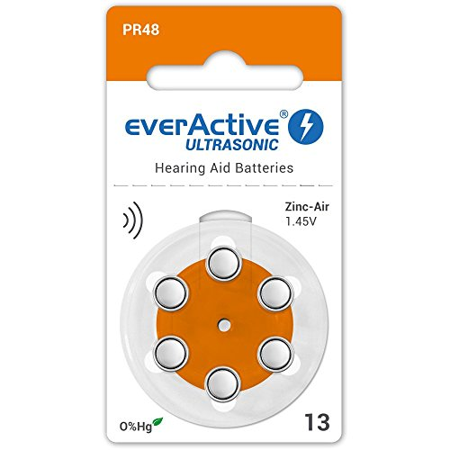 6 x EverActive Ultrasonic TYP 13/PR38 Orange Hörgeratebatterien Batterien für Hörgerate (1 Blisterkarte)