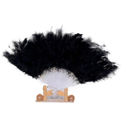 erfächer für Hochzeit Showgirl Tanzabend Gartenfeste, Elegante Handfächer mit Große Feder, Falten Hand Fans Dekoration (One Size, Schwarz) ()