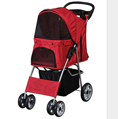 Kinderwagen Travel Folding Carrier Cat Hundekäfig Kinderwagen Öffnen oder montieren Sie die Quick-Hinterrad-Sicherheitsbremse,Red