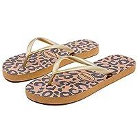 Adokoo Womens Flip Flops Slip on Sandals Beach Shoes Casual Thong Sandal (Leopard,US7)