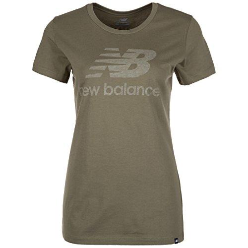 Heathered T-shirt (New Balance Heathered T-Shirt Damen Oliv, L)