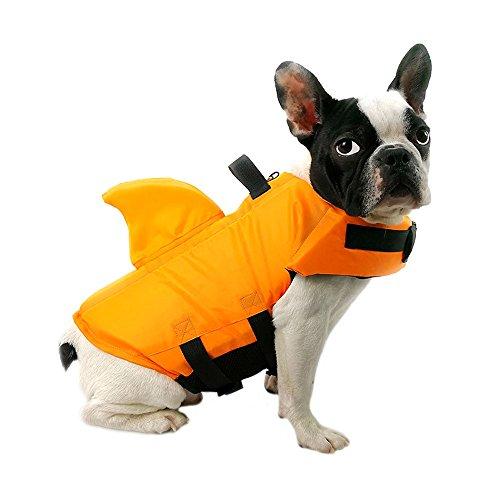 FONLAM Gilet de Sauvetage pour Chien Gilet de Securité Chiot Animaux de Compagnie Maillot de Bain Réglable (XS, Orange)