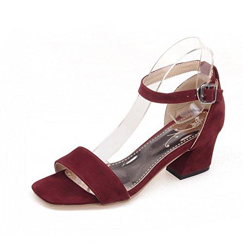 PPFME Womens Low Heel Sandaletten Peep Toe Block Schnalle Damen Barely There Knöchelriemen Schuhe,Red-EU38=240 - Peep-womens Schuhe