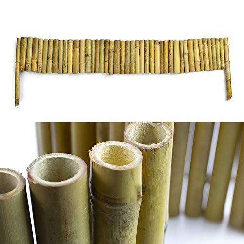 casa pura Bambus Beeteinfassung | Steckzaun 100 cm Länge | angespitzte Pfosten zum Einschlagen | Rasenkante Beetumrandung Beetzaun für Garten | Verschiedene Höhen (15x100 cm)