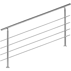 WilTec Rampe escalier Acier affiné V2A 4 Tiges 180cm Rambarde Main Courante Balustrade