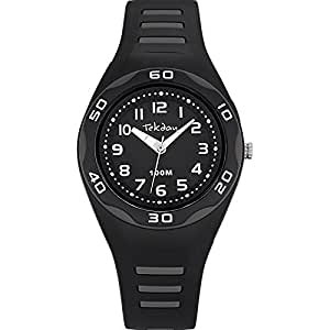 Tekday - 653493 - Montre Enfant - Quartz Analogique - Cadran Noir - Bracelet Plastique Noir