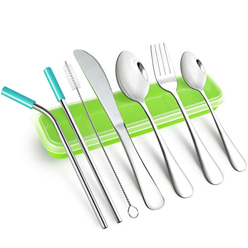 AckMond Camping Outdoor Utensils Cutlery Flatware Set Portable Stainless Steel Fork, Spoon, Tea Spoon, Knife, Chopstick, Stainless Steel Metal Straws with Silicone Tips and Brush (Green Case)