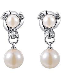 joyliveCY mujeres encanto Jewerly chapado en oro blanco stud con doble perlas clip de oreja