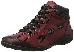 Rieker Damen L6543 Hohe Sneaker, Rot (Wine/anthrazit), 43 EU