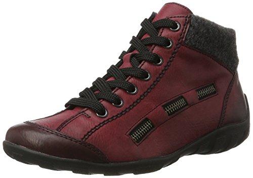 Rieker Damen L6543 Hohe Sneaker, Rot (Wine/anthrazit), 40 EU