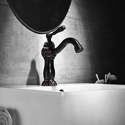 TOMSSL Alle Kupfer Europäischen Schwarz Kostüme Niedrigen Plattform Heißen Und Kalten Waschbecken Wasserhahn Badezimmerschrank Wasserhahn Feine Verarbeitung (Kleinkind Hahn Kostüm)