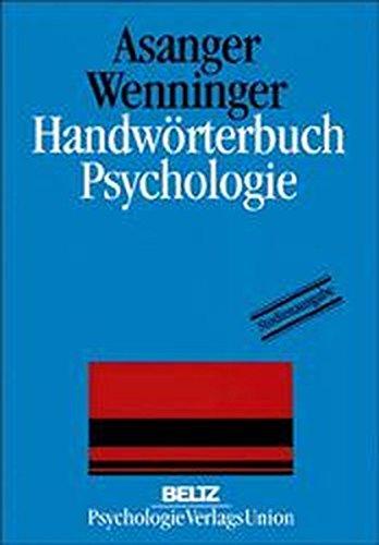 Handwörterbuch Psychologie (Fortschritte der psychologischen Forschung)