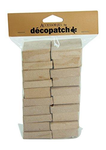 Décopatch EV010O Packung mit 10 quadratische Schachteln (aus Pappmaché zum Verzieren und Personalisieren, 5 x 5 x 3,5 cm, ideal für Schmuck, Bonbons oder kleine Gegenstände) 1 Pack kartonbraun
