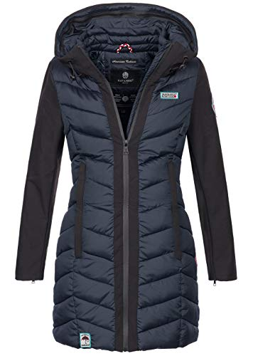 Navahoo Damen Wintermantel Mantel Steppmantel warm Winter Jacke lang Stepp B674 [B674-Fluss-Navy-Gr.XXL]