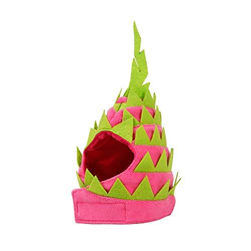 YaptheS Dragon Fruit Pet Hat S für Katzen-Hundewelpen-Haustier-Kostüm-Partei-Dekor Neuheit Dragon Fruit Design Haustier-Kopfbedeckung