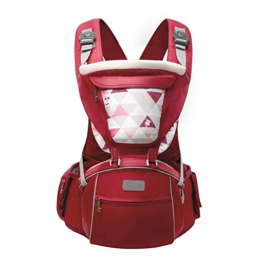 TLTLYEBD Komfortable Und Atmungsaktive Rote Babytrage, Ergonomische 3-in-1-Babytrage, Unisex-Babytrage - Four Seasons Universal (≤15kg, 3-36 Monate)