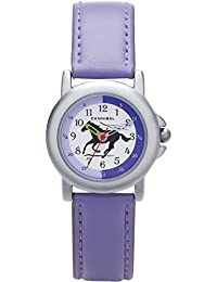 Caníbal para aprender la hora reloj infantil con forma de morado banda elástica de sujeción caballo en esfera blanca CJ267-15