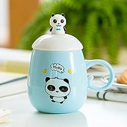 Ldhome Marca Panda Taza De Cerámica Taza De Café Taza De Leche De Gran Capacidad Creativa Copa Cartoon Cuchara Cubierta 430Ml C