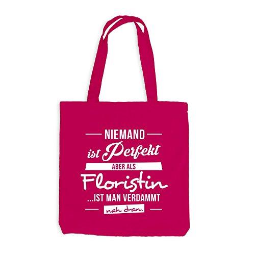 Jutebeutel - Niemand ist perfekt, aber als FLORISTIN ist man nah dran. - Blumen Job Arbeit Pink